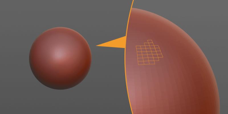 スカルプトで作った球も拡大すればカクカク