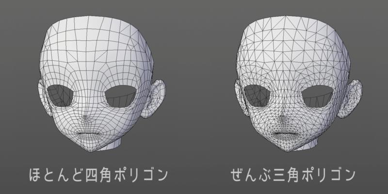 四角ポリゴンと三角ポリゴンのモデル見た目比較