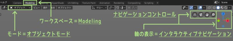 Blender 2.8のワークスペースとモードと軸の表示を確認