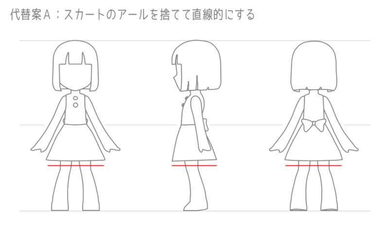 代替案A:スカートのアールを捨てて直線的にする