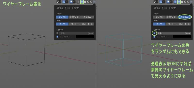 Blender 2.8 ワイヤーフレーム表示