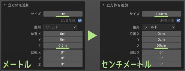 オペレーターパネルの単位もメートル→センチメートルに変わる