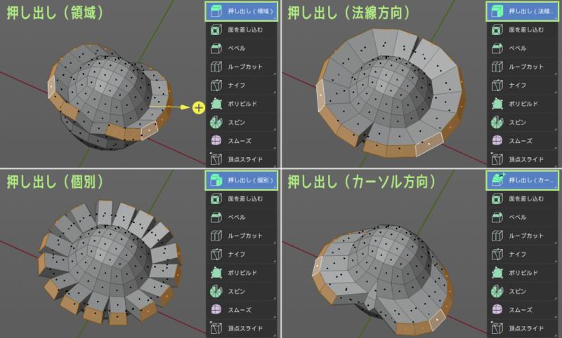 Blender 2.8の押し出しツールは4種類ある