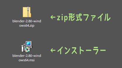 Blender 2.8 zip形式ファイルとインストーラー