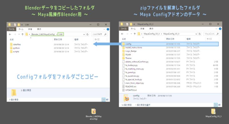 Maya Config For Blender 2.8導入② Configフォルダをコピー