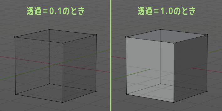 透過=0.1と透過=1.0のちがい