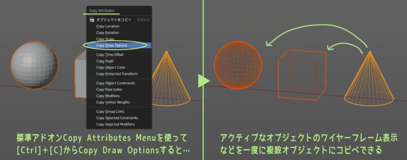 Blender 2.8 標準アドオンCopy Attributes Menuでワイヤーフレーム表示をコピー&ペースト
