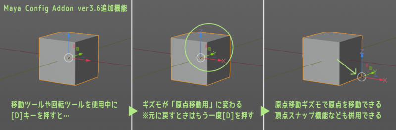 Maya Config Addon For Blender 2.8 ver3.6の追加機能-Dキーで原点移動