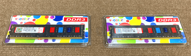 v-color DDR3 PC3-12800 8GBメモリ×2枚
