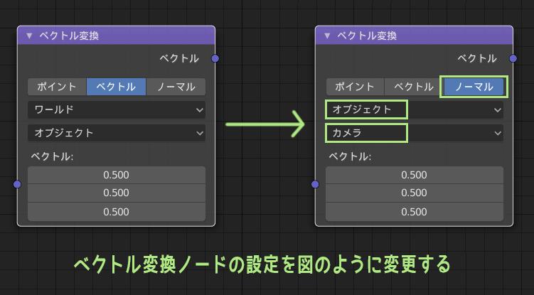 ベクトル変換ノードの設定を図のように変更する