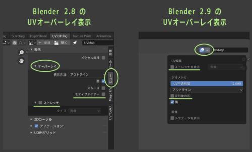 Blender 2.8と2.9でUVのオーバーレイ表示の場所がちがう